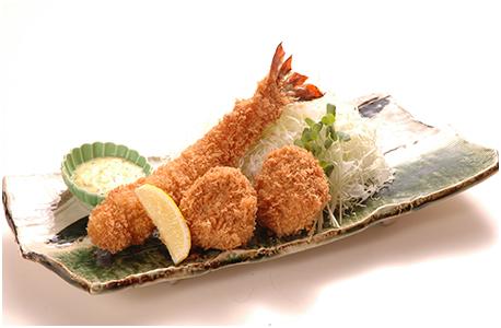 ジャンボ海老とヒレかつ定食